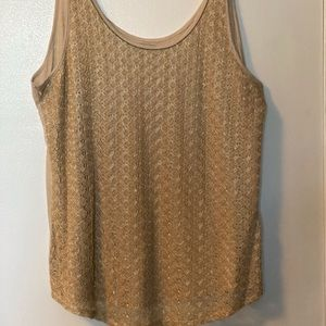 Lucky Brand | Tan & Gold Lace Tank Top | Size L